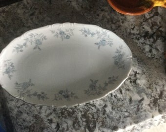 Blue Dawn (Platinum Trim) oval serving plate