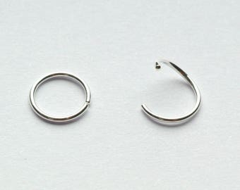 NOSE RING HOOP 22g 6mm Sterling Silver