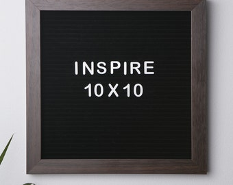"Black Felt 10""x10"" Letterboard with Walnut Finish"