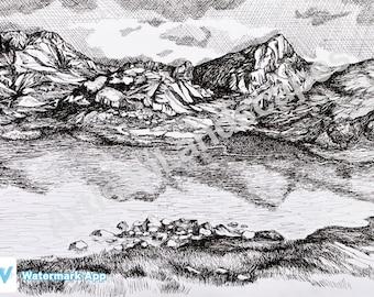 Scottish Highlands Mountain Scenery Lake Pen And Ink Illustration Print