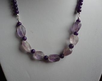 Sterling Silver Amethyst and Jade Semi Precious Gemstone Necklace - N52S