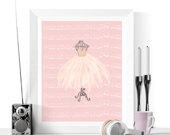 Ballet Art Print | Ballet TuTu Art Printable | Pink Art | Girls Bedroom Decor | Dance Printable | Ballerina Gift | Ballet Art