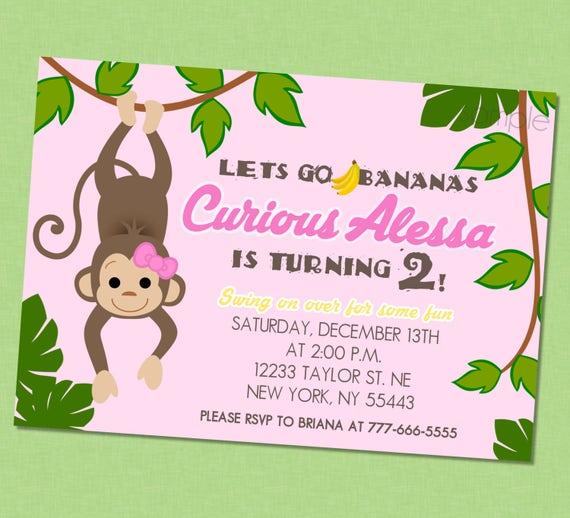Girly monkey birthday invitation monkey birthday invites monkey il570xn filmwisefo
