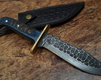 Custom Handmade D2 Forged  knife with Leather Sheath