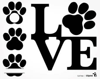 Cat svg, dog svg clipart, cat lover silhouette, cat paws, dog paw svg, digital – svg, eps, png, dxf, pdf. Graphic Cut Print Mug Shirt Decal.