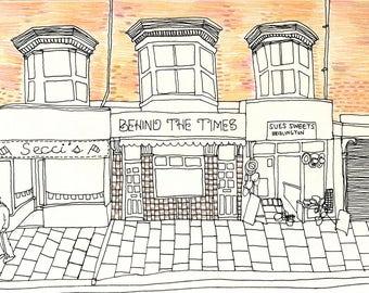 Seaside Town Bridlington Shops - Fine Liner Drawing Crayon Illustration Print