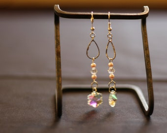 Pale Pink Swarovski Crystal Dangle Earrings