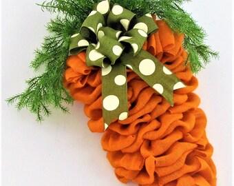 Front Door Wreath, Spring Wreath, Burlap Wreath, Easter Wreath, Carrot Wreath, Burlap Carrot Wreath, Orange Burlap Wreath, Orange Wreath,