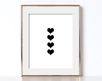 Hearts Digital Download Printable Art Geometric Art Love Romance Gift For Her Graphic Design Print Black and White Art Noir Fun Art Print