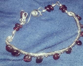 wire wrap gemstone cuff bracelet