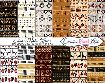 Digital Paper Etno Motiv Africa Digital Download Papers Scrapbooking paper , For personal and small business use
