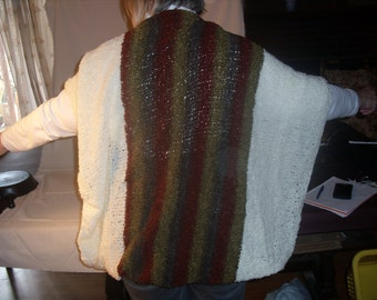 Ladies White shrug accented with deep colors