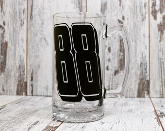24 oz Beer mug Dale JR #88 ,Nascar Decor,Dale Earnhardt JR, racing mug,Fathers day,Gift idea, 20 Dollar gift,Race Car Driver,Race Track