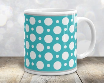 Turquoise Polka Dot Mug - Stylish White Turquoise Polka Dot Pattern - 11oz or 15oz