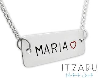 Name pendant, Sterling silver, Customized pendant, Name necklace, Customized, stamp necklace, Plata 925, Impress Art, Collar con nombre