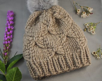 Knit Pom Pom Hat, Pom Pom Hat, Kessler Beanie, Neutral knit hat, Faux Fur Pom, Chunky Knit Hat for girls, Wool Hat, Winter Hat for women