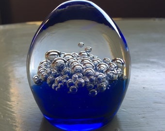 Blue Crystal Hand Blown Paperweight