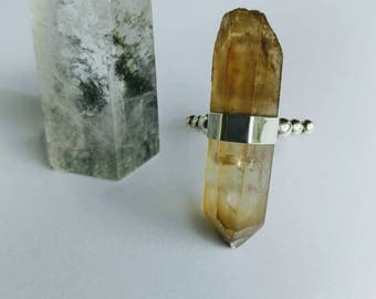 Sterling Silver Natural Citrine Crystal Point Ring