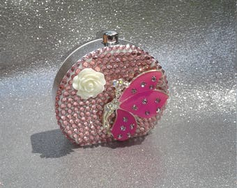 Beautiful pink Fairy CONTACT CASE KIT bling purse