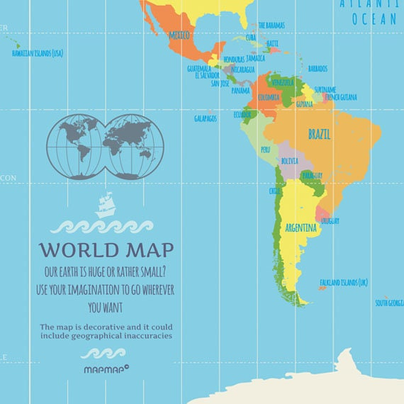 World Map Poster Classic Illustrated World Map - Huge classic world map