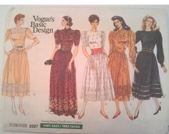 "Vogue's Basic Design for a Party, Prom, Bridesmaid's Dress - Pattern 2327 - 14, 16, 18 - Bust 36"", 38"", 40"" - Uncut - Includes Misses Petite"