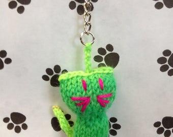 Kit Knit Kitty Keyring  - Neon Green