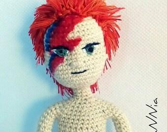 Bowie snowman amigurumi articulated, bowie doll