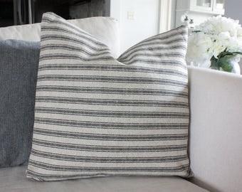 Tan with Black Ticking, Grain Sack, Feed Sack Style Pillow Cover, Farmhouse Pillow Cover, Rustic Throw Pillow, Vintage Throw Pillow