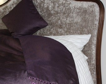 Beautiful handmade bed throw in amethyst contemporary contemporary textured fabric