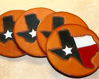 Set of 4 Handcrafted Genuine Leather Drink Coasters, Texana Design, Lone Star State, Texas Flag, Red, White & Blue, Dining Accessories