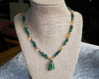 Malachite Beads Amber Crystal with Gold Accents