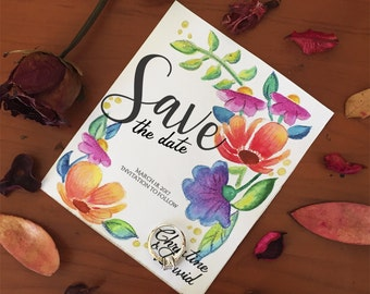 Printable and customizable Floral Save the date Template