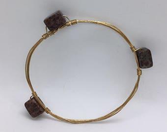 Stone Bangle - Gold - Bracelet - Handmade - Gift - Jewelry