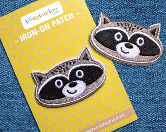 Raccoon Iron On patch - Patches - Embroidered Patch - Cute Patches - Patches for Jackets - Patch Game - Woodland Animals - Cool Patches
