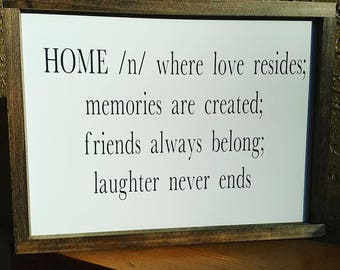 Handcrafted Wood Sign - Home
