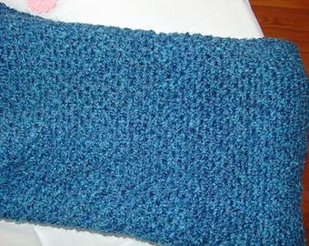 Blue with Teal Highlights Crochet Afghan/Blanket