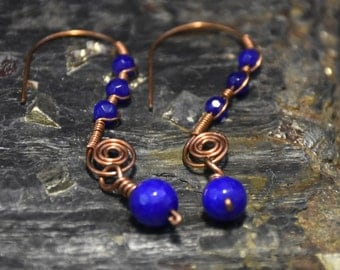 Copper wire wrapped earrings with sapphire beads