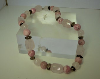 Rose Quartz, Rhodochrosite, Smokey Quartz beaded necklace, 925 Silver Clasp