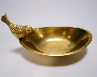 Brass Dish with Bird