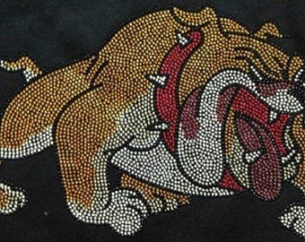 Rhinestone Bulldog Large  Lightweight T-Shirt or DIY Iron On Transfer                            31U6