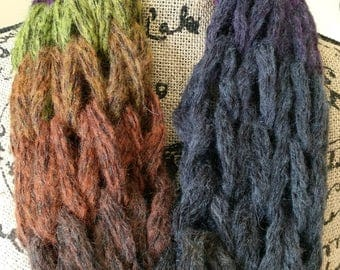 Chunky Boho Wool Cowl/Hippie Scarf/Wool Scarf/Ombre Scarf/Arm Knit Cowl