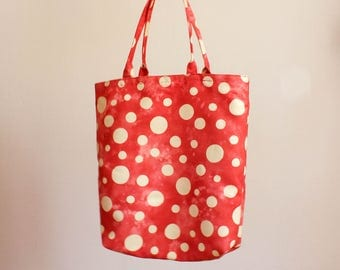 Small tote bag dotted tote bag