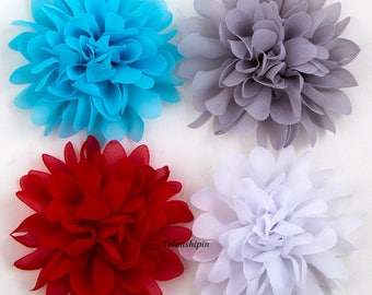 Soft Chiffon Flowers Flatback Flet Flower For Baby Hair Accessories Fluffy Fabric Flowers For Headbands Diy Supplies 4.1""