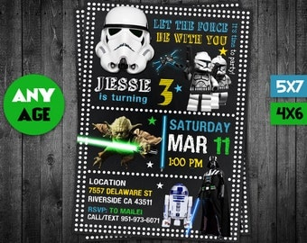 Star Wars Invitation, Star Wars, Star Wars Party, Star Wars Printable, Star Wars Invite, Star Wars Birthday, Star Wars Card