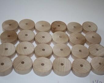 "24  Wooden Wheels/Tires **1 1/2"" in Diameter x 1/2"" Wide, Axle Hole 5 mm"