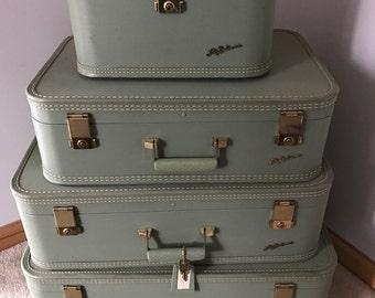 Lady Baltimore Luggage Set with Keys, Aqua Suitcase, Travel Bags, Mid Century Suitcase, RedHeadFlairWV