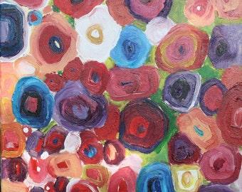 Image, flowers on canvas, 40 / 40cm