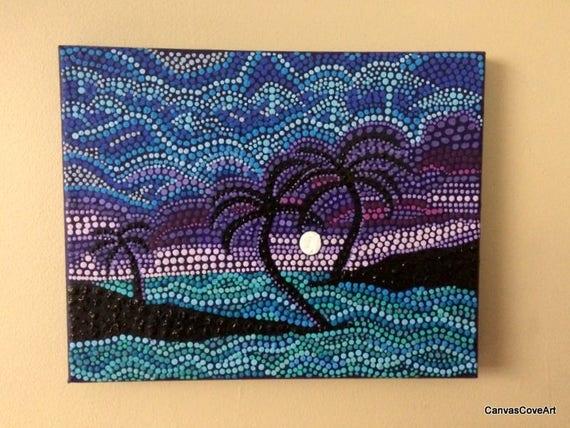 """Items Similar To Heart Palm Tree Dot Acrylic Painting 8"""" X"""