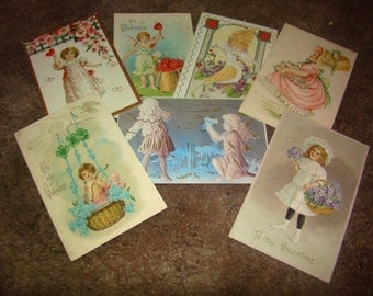 SALE 7 Vintage Valentine Postcards