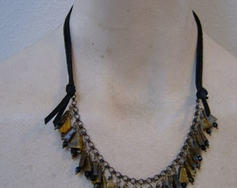 fab tigereye, swarovskis, natural brass and faux leather necklace